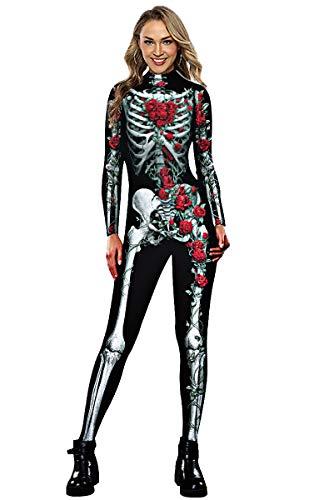 Neusky Halloween Women's Skeleton Costume (Rose, L)