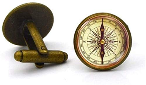 N\A French Men's Shirt Cufflinks Suit Buttons Camping Guided Reading Brass Compass 1pair Vintage (Color : A, Size : -)