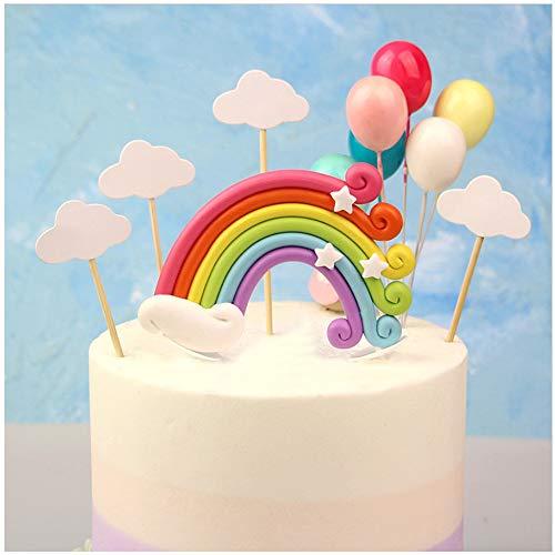 AMACOAM Tortendeko Geburtstag Regenbogen Luftballons Wolken Kuchen Topper Kuchendeko Geburtstag Tortendekoration für Kinder Mädchen Junge Frauen Geburtstag Kuchen Hochzeit andere Party