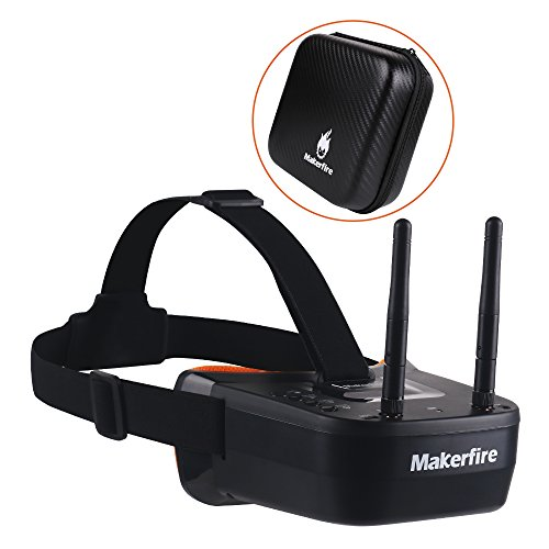 5.8Ghz Mini FPV Goggles 3 Pulgadas 40CH FPV Video Headset Gafas con Doble RP-SMA Antena y Bolso Incorporado 1200mAh Battery para FPV Racing Drone Quadcopters
