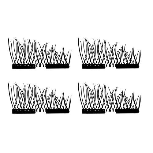 4pcs / 2pairs 3D sans colle magnétique faux cils à la main naturel épais longs cils cosmétiques maquillage outils de beauté - noir double aimant