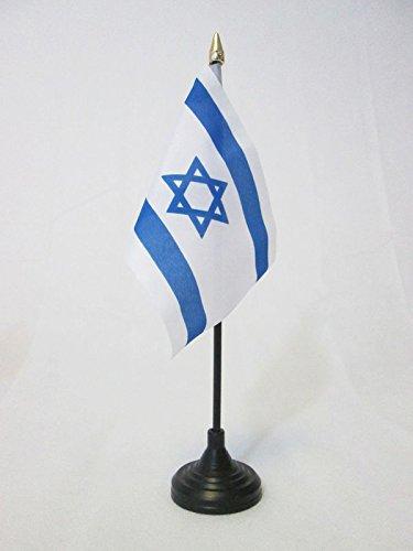 AZ FLAG Israel bordsflagga 4 x 6 tum – israelisk – judisk skrivbordsflagga 15 x 10 cm – gyllene spjut topp