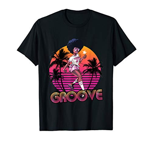Afro Groove Roller Skate Retro 80s 70s Disco Funk Star T-Shirt