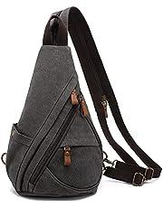 LOVEVOOK Sling Bag Canvas Crossbody Backpack Shoulder Travel Bag Casual Daypacks