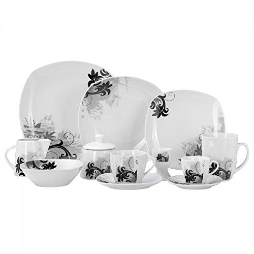 Kombiservice Black Flower 124-teilig eckig Porzellan für 12 Personen weiß mit schwarzem Blumendekor