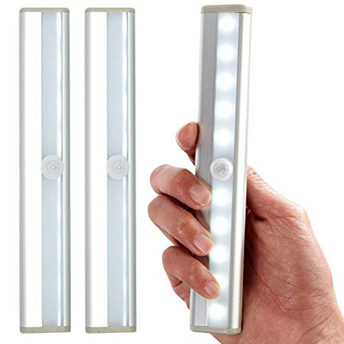 Dyanatic 3X 10 LED PIR Motion Sensor LED Night Light Battery Operated with Portable Magnetic Strip Under Cabinet Lights Automatic Closet Reading Stick On Kitchen