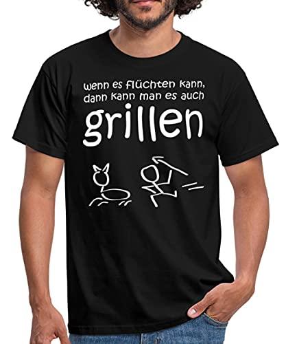 Grillsprüche Wenn Es Flüchten Kann Männer T-Shirt, 3XL, Schwarz