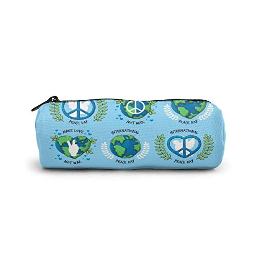 Cylinder Cosmetic Bag Hand Drawn Peace Day Badge Collection Pencil Case Small