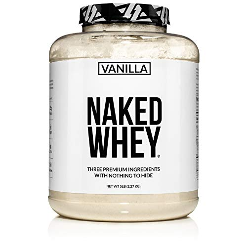 Naked Whey Vanilla Protein – All Natural Grass Fed Whey Protein Powder + Vanilla + Coconut Sugar- 5lb Bulk, GMO-Free, Soy Free, Gluten Free. Aid Muscle Recovery - 61 Servings