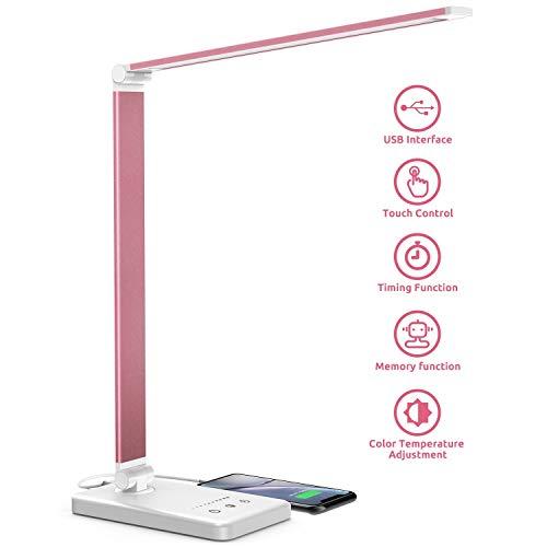 Chesbung Lámpara de escritorio del LED de mesa regulable con 5 colores y 10 niveles de brillo, control táctil, plegable, con USB de carga de la protección acceso y el ojo (Rosa)