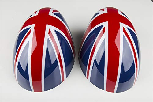 Red/Blue Union Jack UK Flag ABS Sticker Cover Trim Cap for Mini Cooper ONE S JCW F Series F55 Hardtop F56 Hatchback F57 Covertible 2016+ (Side Wing Mirror Cap Without Light Hole)