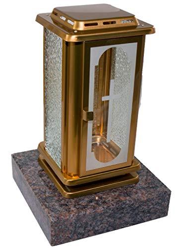 Kunst-Art-Köhl Grablampe EMSL11aus Edelstahl auf Messing/Bronze lackiert montiert auf Einem Granitsockel (Himalaya)