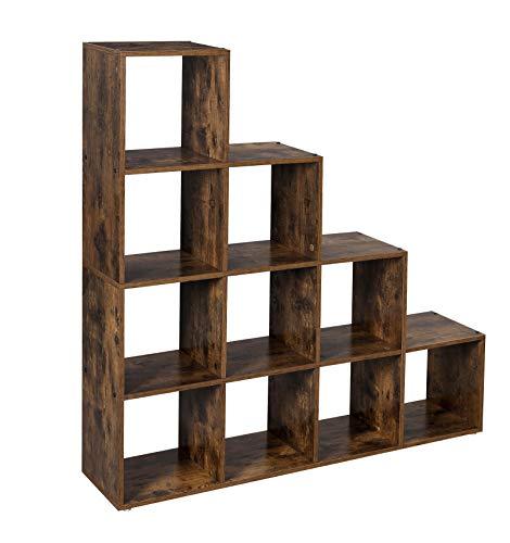 VASAGLE Scaffale a Scala Autoportante, Mobile Portaoggetti con 10 Cubi, Libreria a 10...
