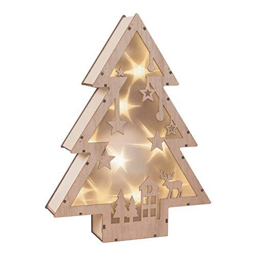 The Christmas Workshop-Decorazione albero di Natale in legno con illuminazione LED con taglio laser, motivo bosco, legno, pino