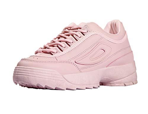 NO - Zapatillas de PU (nunca lastimamos animales) para mujer Rosa rosa