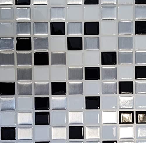 ELIKO - Azulejos adhesivos impermeables de 30,5 cm x 25 cm, color blanco (lote de 15)