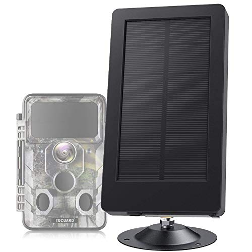 TOGUARD Trail Camera Solar Panel DC 5V/6V/9V/12V 2500mAh Solar Power Bank IP54 Waterproof for Hunting Game Cameras (No Batteries Required for Your Trail Camera)