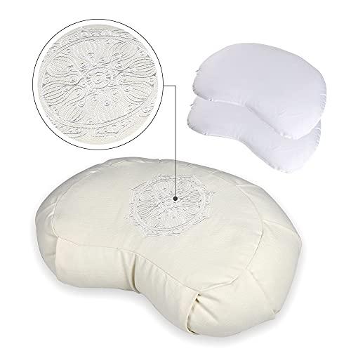 GS CHIER Cojín de yoga con forma de media luna, 100% algodón, cojín de yoga con cómodo relleno de trigo sarraceno, cojín de yoga con asa integrada, altura óptima del asiento para meditar.