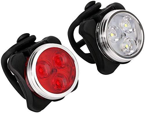 Shuxinmd Fahrrad Scheinwerfer Rücklicht Kombination USB Aufladbar LED Fahrrad Lichter Set Wasserfest Radfahren Fahrrad Vorne und Rücklicht 650mah Lithium Batterie 4 Licht Modi