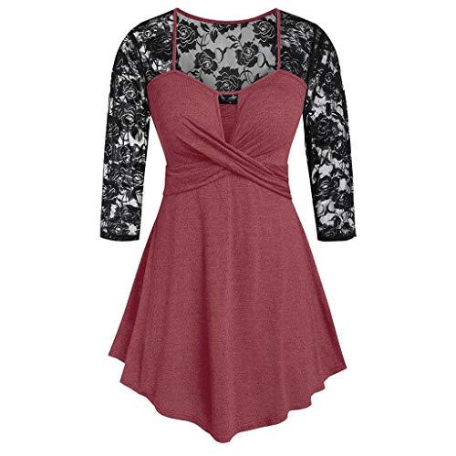 AKAIDE Damen Vintage-Kleid mit langen Ärmeln, Spitze, Patchwork-Einsatz vorne, Drehung, Schlüsselloch-Taille, Nähte, Oberteil, Hohles Kleid Gr. XX-Large, wein