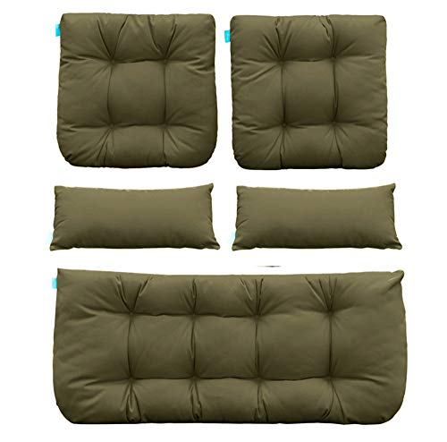 QILLOWAY Outdoor Patio Wicker Seat Cushions Group Loveseat/Two U-Shape/Two Lumbar Pillows for Patio Furniture,Wicker Loveseat,Bench,Porch,Settee of 5 (SAGE)