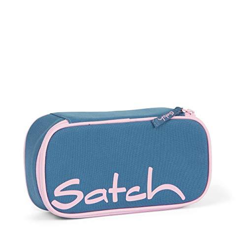Satch Schlamperbox - Mäppchen groß, Trennfach, Geodreieck - Deep Rose - Hellblau