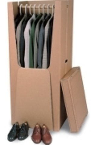 Pressel® Aufbewahrungsbox, Kleiderboxen, Wellpappe, mit Deckel, Grifflöcher, 61,5 x 55 x 137 cm, braun (2 Stück), Sie erhalten 1 Packung á 2 Stück