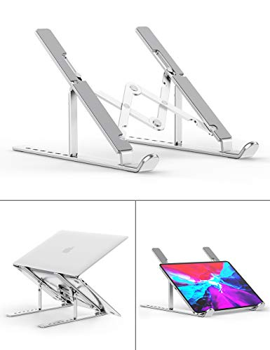 """Laptop Stand, Aenfor Portable Computer Laptop Mount Holder, Aluminum Laptop Riser with 7 Levels Height Adjustment, Compatible with MacBook Air Pro, Dell XPS, HP, Lenovo More 10-15.6"""" Laptops, Silver"""