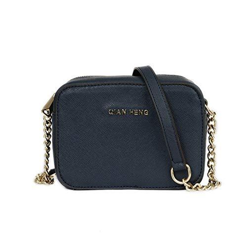 Borsa a tracolla piccola in pelle per le donne Mini Zip Borsa rigida Messenger Bag - blu - Taglia unica