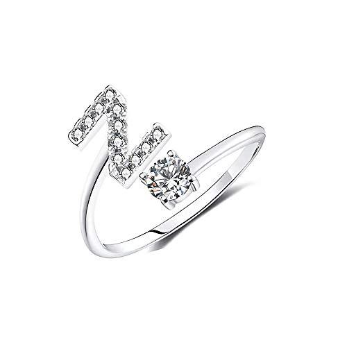 dytinine Einstellbare A-Z Buchstaben Silber Ring Für Frauen Strass Offene Fingerringe Weiblichen Verlobungsring Schmuck Geschenk