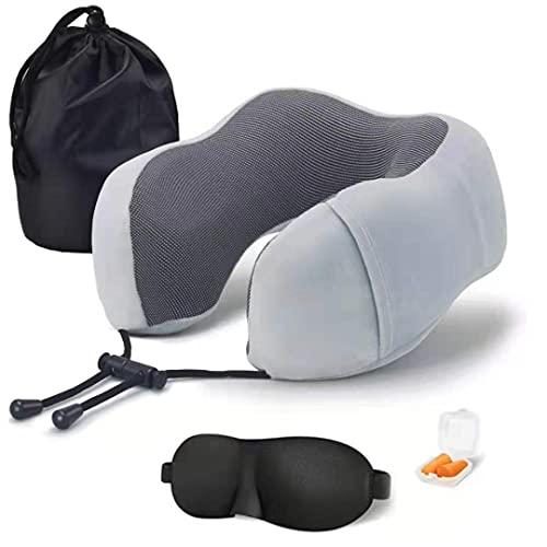 Almohada en Forma de U, Almohada de Espuma viscoelástica en Forma de U, Rebote Lento, Almohada de Viaje para el Cuello, Almohada de Tela magnética para el Cuello