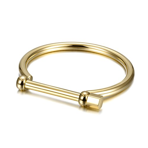 WISTIC Gold Cuff Bangle Bracelet D-Shape Screw Bar Bangle Bracelet for Women Men (Womens...