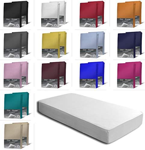 one-home 2er Set Jersey Spannbettlaken Spannbetttuch weiche Baumwolle mit Rundumgummizug, Farbe: Weiß, Maße: 2er Pack 90-100 x 200 cm