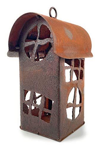 Edelrost Windlicht Turm Haus Runddach