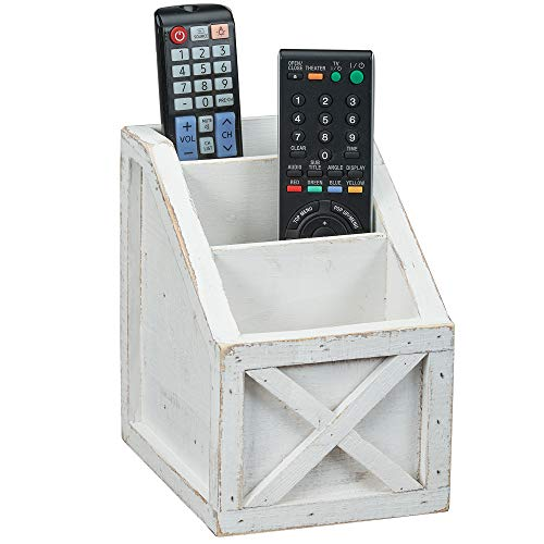 "Barnyard Designs Rustic Vintage Wooden Desk Organizer Remotes Caddy Tabletop Desktop Office Supplies Desk Accessories Holder, White 6.75' x 6.5"" (White/White)"
