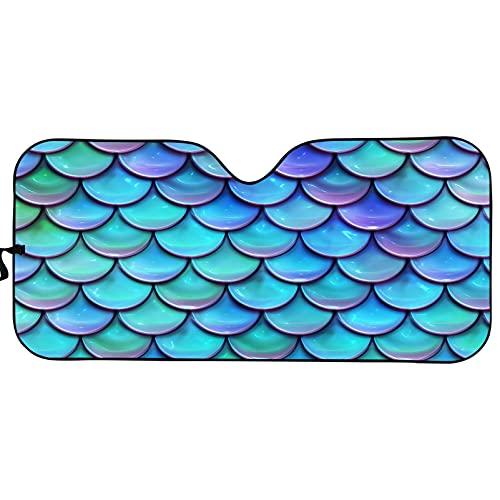 Qingeng Auto-Sonnenschutz, Meerjungfrauenwaage, blockiert UV-Strahlen, Sonnenblende, Akkordeon, faltbar, Auto-Sonnenschutz, Windschutzscheibenschutz, Auto-Frontfenster