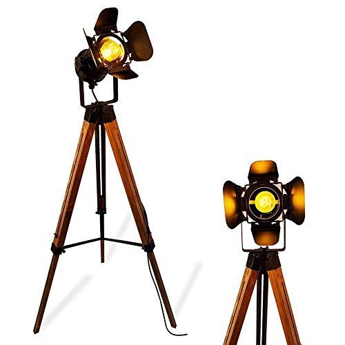 Modern Industrial Vintage Tripod Floor Table Lamp - Metal Wood Nautical Cinema e26 Standing Corner Black Searchlight - Reading Adjustable Desk Light for Living Room Bedroom Movie Theatre Decoration