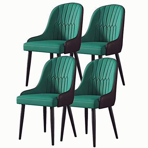ARWQ857 Set 4 Sedie Pranzo Moderno Sedile Imbottito Morbida Pelle Schienale Alto Robusti Piedi Acciaio Schienale Braccioli Ristoranti Commerciali Domestici (Colore : Green, Size : Black Feet)