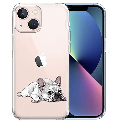 FINCIBO Clear Transparent TPU Silicone Protector Case Cover Soft Gel Skin Compatible with Apple iPhone 13 6.1 inch 2021 - French Bulldog Dog Lying Down Looking Up