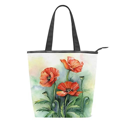 Handbemalte Handtasche für Damen, Blumen-Design, aus Segeltuch, mit Schultergriff, für Schule, Strand, Reisen, Arbeit, Fitnessstudio, täglichen Gebrauch