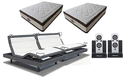 DynastyMattress 15.5-Inch AtlantisBreeze Gel Memory Foam with Reverie 8Q Adjustable Base Set Sleep System (Split King)