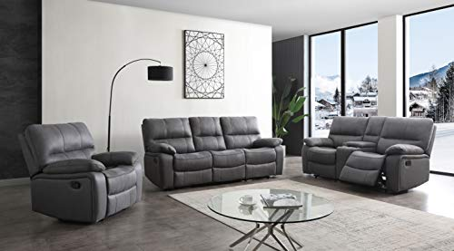 Betsy Furniture Microfiber Reclining Sofa Couch Set Living Room Set 8007 (Grey,...
