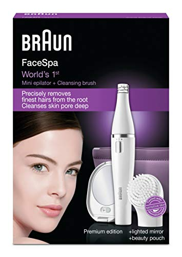 Braun Face 830 Facial Epilator and Facial Cleansing Brush Including Mirror and Beauty Pouch
