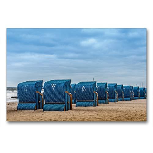 Premium Textil-Leinwand 90 x 60 cm Quer-Format Strandkörbe in Kühlungsborn/Ostsee   Wandbild, HD-Bild auf Keilrahmen, Fertigbild auf hochwertigem Vlies, Leinwanddruck von Dieter Gödecke