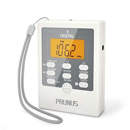 Radio Digital de Bolsillo PRUNUS J-157, Pequeño Transistor Portátil Radio Am FM con Linterna SOS, Reloj Despertador, Temporizador de Apagado, Operado por Pilas AAA (SIN FUNCIÓN PRESET Manual)