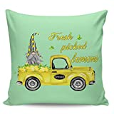 Winter Rangers Fundas de almohada decorativas: Sweet Summer Farm Gnome Fresh Picked Lemon Yellow Truck Green Short Plush Cushion Cover para sofá, cama, silla, ultra suave y transpirable, 61 x 60 cm