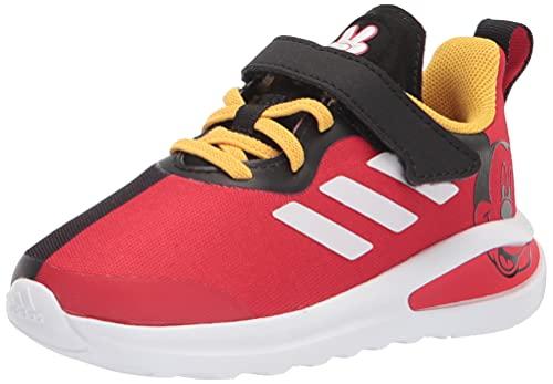 adidas Kids Fortarun Mickey Running Shoe, Black/White/Vivid Red, 7 US Unisex Toddler