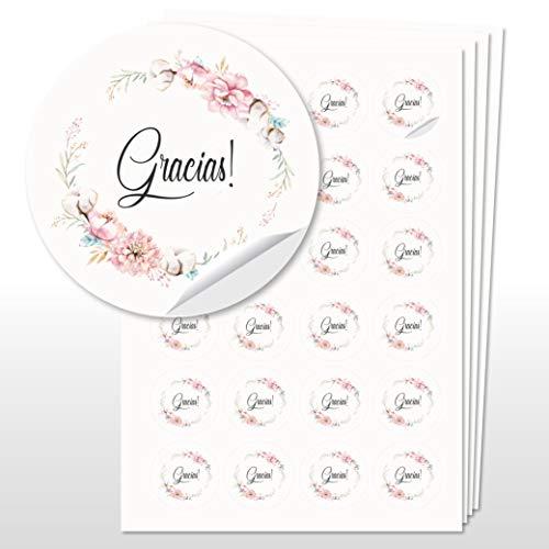 96 Pegatinas Gracias para Boda Boho, etiquetas adhesivas de 4 cm de diámetro, regalos boda (Gracias 4)