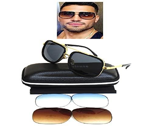 Tony Stark - Gafas de sol estilo retro con 2 lentes degradadas de repuesto extra