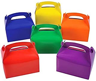 Adorox 24 Assorted Bright Rainbow Colors Cardboard Favor Boxes Treat Goody Bags Children Birthday Party Event Gift